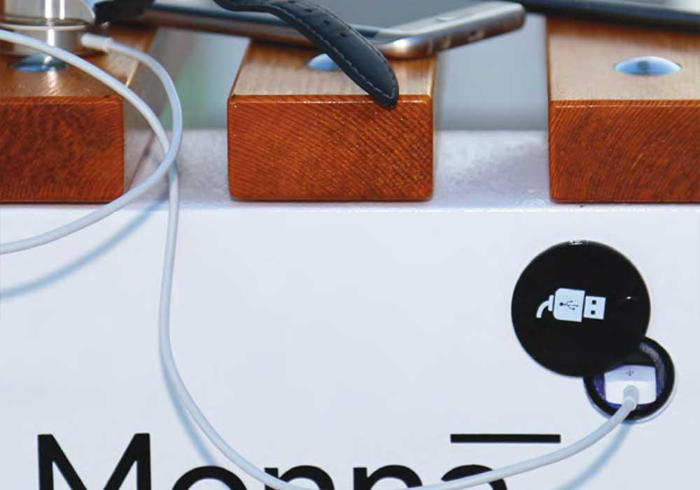 Banc urbain intelligent avec prise recharge pour vélo électrique
